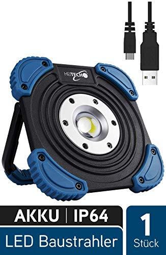 HEITECH LED Akku Baustrahler 10W - Werkstattlampe mit 1400 Lumen, 60m Leuchtweite, COB LED, aufladbar über USB, dimmbar, stoßfest, spritzwassergeschützt IP64 - LED Arbeitsleuchte Akkulampe Strahler