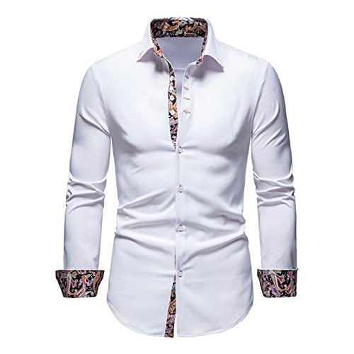 Ocuhiger Camisa De Vestir Clásica A La Moda para Hombre Camisas Formales De Negocios De Corte Estándar Regular Slim Tops De Manga Larga con Botones Blusa Estampado Patchwork Blanco