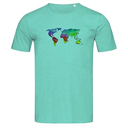 Shirtzshop - Maglietta da uomo con mappa del mondo acquerello Bahama Green S