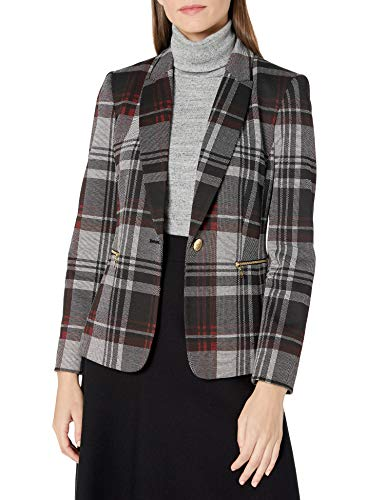 Tahari ASL Women's Undercollar Jacket with Zippers, Red Black Plaid, 8