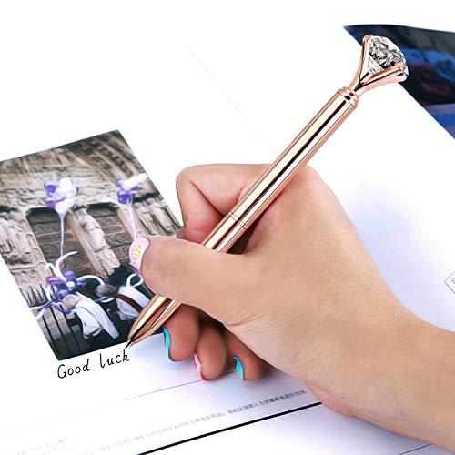 ZZTX 8 PCS Rose Gold Big Crystal Diamond Ballpoint Pen Bling Metal Ballpoint Pen Office Supplies Gift Pens For Christmas Wedding Birthday, Includes 8 Pen Refills Photo #3