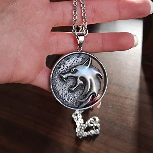 The Witcher Geralt de Rivia collier pendentif médaillon avec loup en résine et poussière d'aluminium