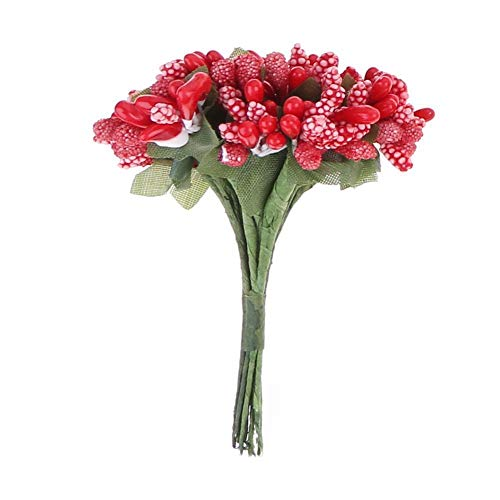 YITAQI Artificial Flowers,DIY Party Supplies Craft for Home Wedding Party Fake Flower Stamen Flowers Bridal Bouquet Artificial Decoration(Red)