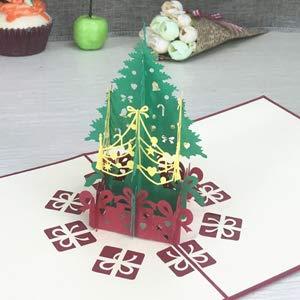 QWH Feliz Navidad Vintage 3D Corte láser Pop Up Recuerdos Postales Suministros Papel Tarjetas de felicitación Personalizadas Hechas a Mano, como Imagen