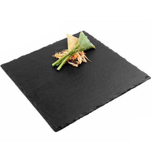 Ilsa - Assiette plate carrée, 25 cm, en ardoise naturelle