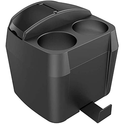 Car Center Console Armrest Organizer Box, Trash Can with Lid Cup Holder Car Dustbin Universal Automotive Waterproof Storage Pockets,Black
