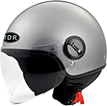 TDRMOTO Open FACE Pilot Helmet Motorcycle Motorbike Adult for Harley Cruiser Scooter AUS (S, Gloss Gray)