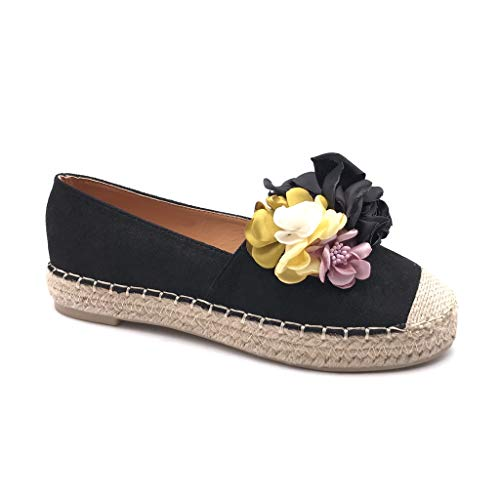 Angkorly - Damen Schuhe Espadrilles Ballerina - Slip-On - Folk/Ethnisch - Strand - Blumen - mit Stroh - Geflochten Flache Ferse 2.5 cm - Schwarz FN397 T 37