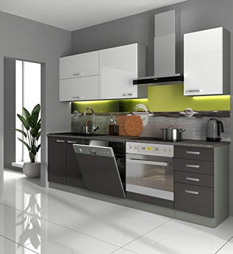 Küche Bianca Basic IV 240 Küchenzeile Hochglanz Grau Weiß Einbauküche Grey