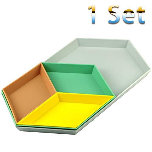 Oopsu Color Geometric Puzzle Fruit Plate, Plastic Separable Tray Versatile Desk Organizer, Storage Platters Snacks Serving Tray