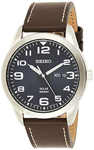 Seiko Herren Analog Solar Uhr mit Leder Armband SNE475P1