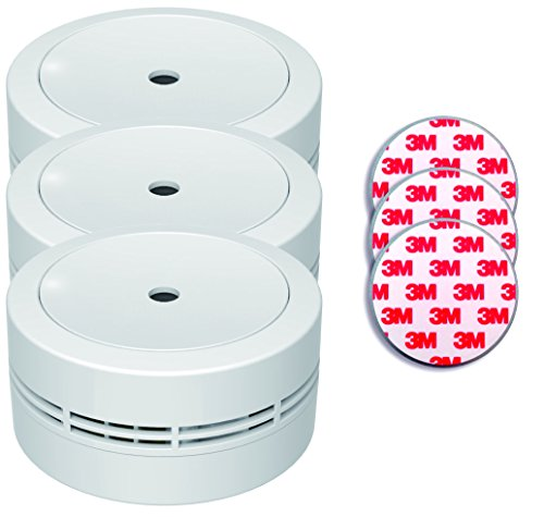 Jeising Mini Rauchmelder GS535 3er Set weiß mit Magnetklebebepad Magnetbefestigung 10 Jahres Lithium Batterie - VDs geprüft EN14604 Komfort Funktionsprüfung mit Stummschaltung