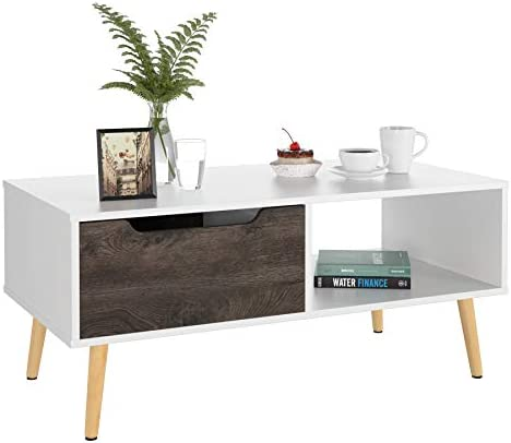 Best Homfa Coffee Tables for Living Room TV Stand, Entertainment Tea Sofa Table Side Table 2 Tier with St