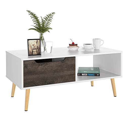 Homfa Coffee Tables for Living Room TV Stand, Wooden Console Table Sofa Side Table 2 Tier with Storage Shelf and 1 Drawer, Modern Furniture for Home Office, White