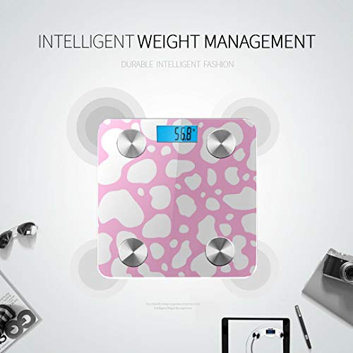 Cow Pink and White Animal Spot Skin Body Weight Digital Scale Best Rated Bathroom Scales Weight Loss Scale Tracks 8 Key Compositions Analyzer Sync with Fitness Apps 400 Lbs