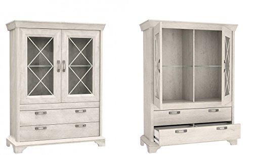 Furniture24 Vitrine Kashmir KSMV64, Standvitrine, Vitrinenschrank mit 2 Türen und 2 Schubkasten (Pinie Weiß, Ohne Beleuchtung)
