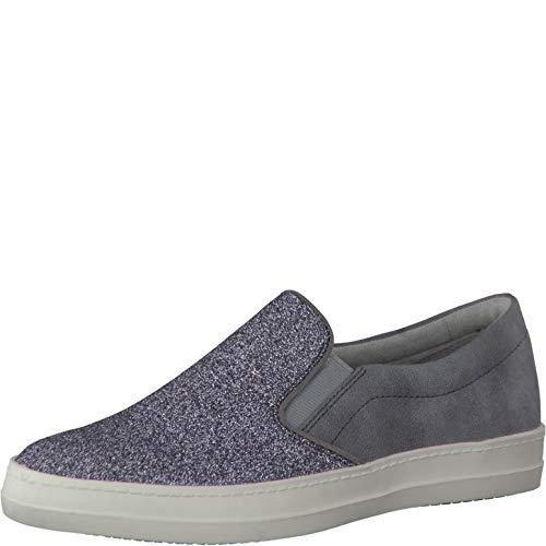 Tamaris Schuhe 1-1-24625-28 Bequeme Damen Slipper, Slip On, Halbschuhe, Sommerschuhe für modebewusste Frau, metallic (Silver Glam), EU 39