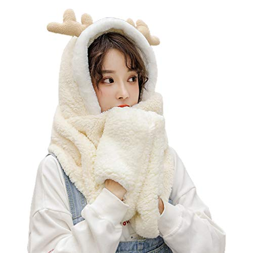 Women Winter Warm 3 in 1 Hoodie Hat with Long Scarf Gloves Combo Cartoon Reindeer Antler Fluffy Plush Thick Windproof Earflap Cap Pocket Mittens (Breathable Inner Lining)