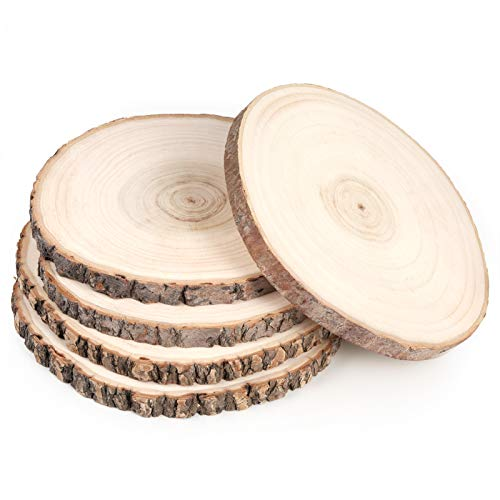 Pllieay 5 Pack 7-9 Inch Round Rustic Wood Slices for Weddings, Table Centerpieces and Other DIY Projects