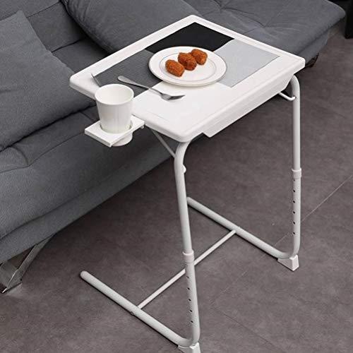 NICEME Klappbar Laptop Beistelltisch | Desktop Neigungsverstellbar Couch-Tisch | Höhenverstellbar 6 Höheneinstellungen | Mit Getränkehalter (Color : Weiß)