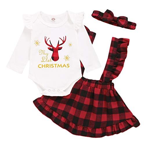 Tabpole Baby Mädchen Weihnachts-Outfits Elch Hirsch Strampler + Plaid Strapsrock + Stirnband 3-teiliges Set