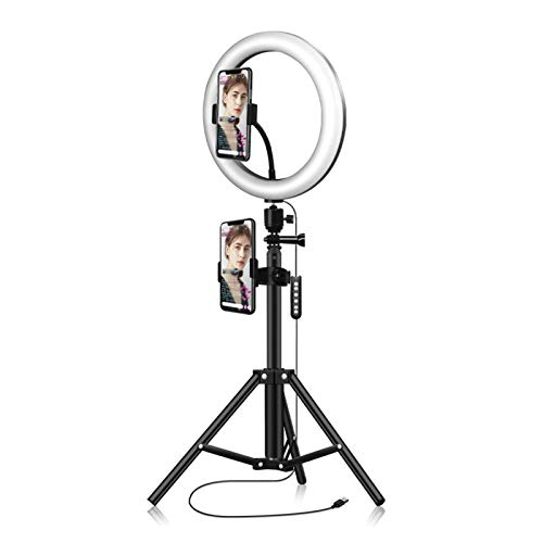 Festnight 10.2 Inch 184 LEDs RGB & 2700-6500K Photography Light USB Powered Operated Selfie Lamp 10 Levels Adjustable Brightness with BT Connected Remote Controller Stretchable Tripod Stand & Mobile