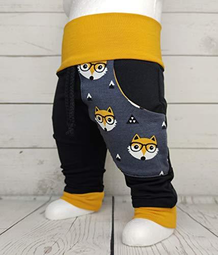 Baby Pumphose mit Tasche Gr. 50-104 Fuchs Senf handmade Puschel-Design