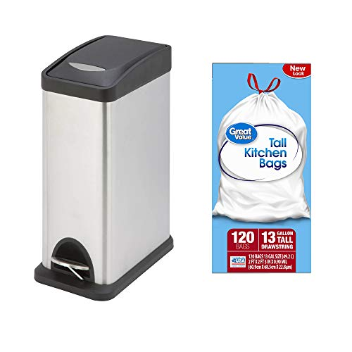 A.T. Products Corp. Honey Can Do 8-L Rectangular Step Trash Can in Silver/Black Bundle with Great Value Tall Kitchen Drawstring Trash Bags 13-Gallon, 120 Count