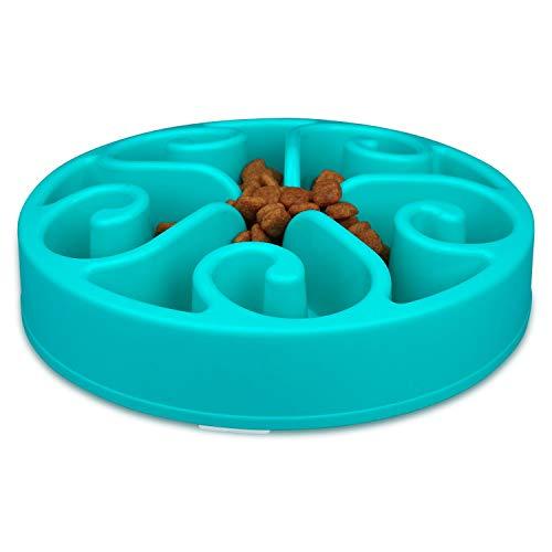 wangstar Slow Pet Bowl Slow Feeder for Dog Cats, Bloat Stop Puzzle Bowl Fun Maze Feeder Slow Feeding Anti-Skid Design(Blue,8''x1.9'')