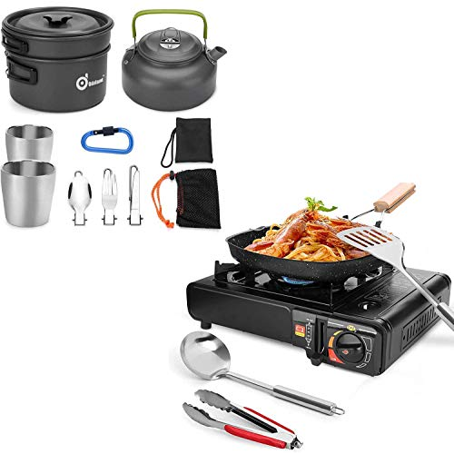 Odoland Bundle – 2 Items 10pcs Camping Cookware Mess Kit and 6 pcs Camping Stove Set with Camping Cookware, Portable Butane Gas Stove for Outdoor Hiking Backpacking