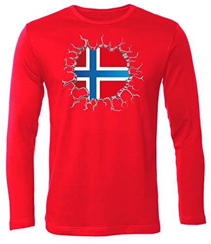 Norwegen Norway Norge Langarm Longsleeve Fanshirt Fussball Fußball Trikot Look Jersey Herren Männer t Shirt Tshirt t-Shirt Fan Fanartikel Outfit Bekleidung Oberteil Hemd Artikel