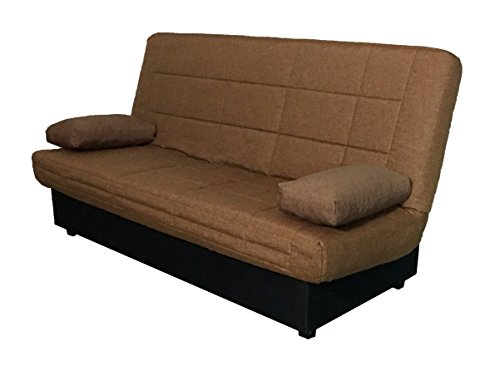 Abitti Sofá Cama Color marrón Sistema abatible fácil con arcón y somier de láminas 190 cm