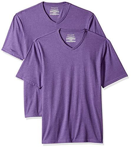 Amazon Essentials - Camiseta de manga corta de cuello de pico y corte holgado para hombre, paquete de 2 unidades, Morado (Purple Heather Pur), US M (EU M)