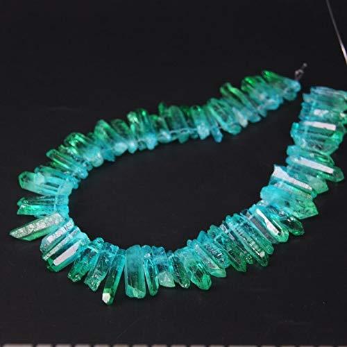 NO LOGO HHTC 15.5' / hebra Superior Perforados Granos Hermoso gradiente de Color Azul Verde de Color Titanio de Cristal de Cuarzo primas Point, joyería áspera Colgante Palo