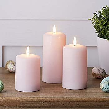 Lights4fun Inc Set of 3 TruGlow Pink Wax Flameless LED Battery Operated Pillar Candles with Remote Control