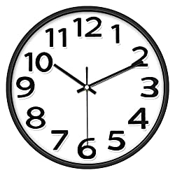 Lucor 12 Inches Large Wall Clock, Non-Ticking Silent Quartz Decorative Clocks, Battery Operated, Round Retro Indoor Kitchen Bedroom Living Room Wall Clocks, Big 3D Number Display