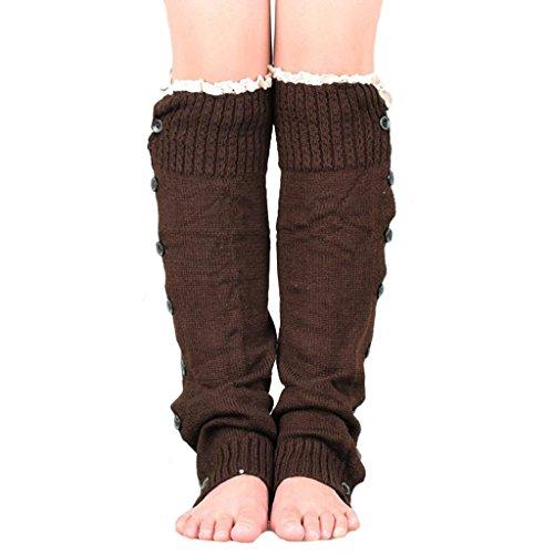 Generic College Mädchen Beinstulpen Wind Overknee Strümpfe über Kniestrumpf Beinwärmer - Kaffee