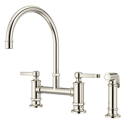 Pfister LG31-TDD Port Haven Kitchen Bridge Faucet with Side Sprayer, Polished Nickel