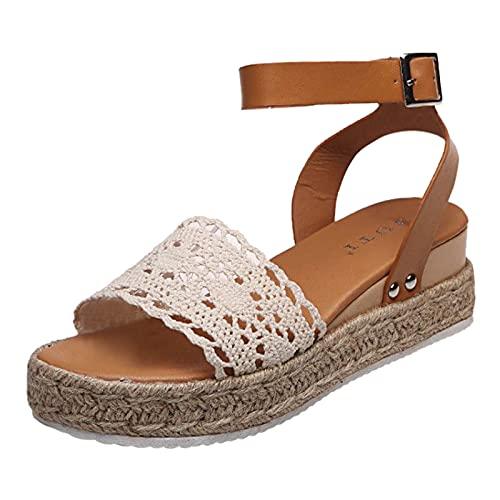 Sandalias de Mujer Vintage Zapatos de Punta Abierta Plataforma Sandalias de Confort Zapatillas Planas de Mujer Bohemias Romanas Hebilla Zapatillas cáñamo Fondo Grueso Sandalias