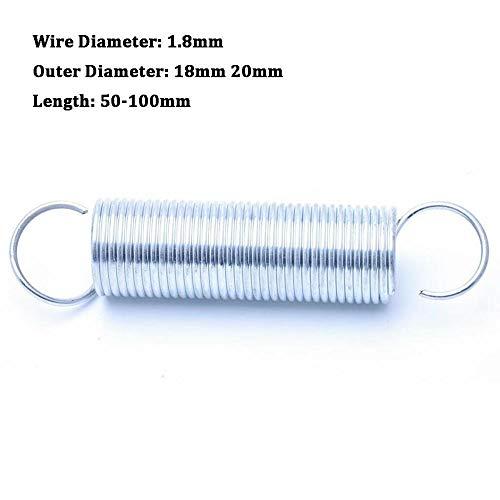 NO LOGO L-Yune, 1Pcs Zugfeder mit Haken Aussendurchmesser 18mm 20mm Weiß verzinkt Zugfeder Drahtdurchmesser 1,8 mm Länge 50-100mm (Größe : 1.8 x 20 x 50mm)