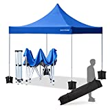 ECOTOUGE Pop up Canopy (10x10, Blue, Wheeled) with Roller Bag,1-Person Setup,Straight Leg,Waterproof...