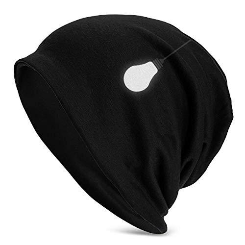 Preisvergleich Produktbild AOOEDM Glühbirne Black Men's Daily Beanie,  warme,  lässige,  weiche Kopfbedeckung,  ganzjähriger Komfort,  seriöse Mützen für seriösen Stil,  dünne,  übergroße Strickmütze mit Totenkopfmütze