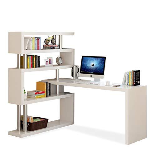 XIALIUXIA Escritorio con Estantería, Giratorio 180° Mesa Despacho Reversible, Estudio, Estantería De 4 Pisos Mesa, Escritorios Computadoras Librería Oficina,E,160CM
