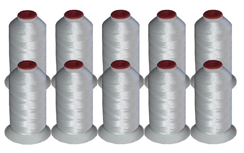 10-cone Polyester Embroidery Thread Kit - 10 White - 1100 yards - 40wt
