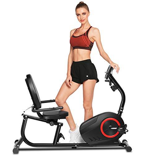 ANCHEER Bici da Fitness Resistenza Magnetica 8 Livelli, Cyclette Orizzontale Magnetico Display LCD/Supporto per Tablet/Sensori di pulsazioni/Sedile Regolabile con Schienale, Max.110 kg (Nero + Rosso)