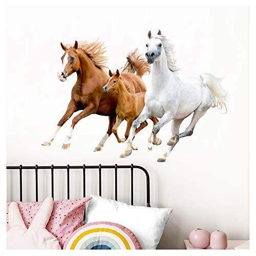 Little Deco Wandaufkleber Pferde I L - 80 x 56 cm (BxH) I Wandsticker Pony Wandtattoo Mädchen Kinderzimmer Deko Bild Sticker Ross Aufkleber Rösser DL475