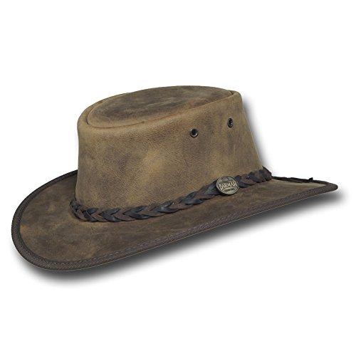 Barmah Hats Foldaway Bronco Leather Hat 1060BL / 1060BR / 1060RU (XXLarge, Rustic)
