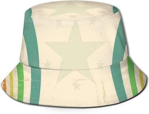 zhouyongz Unisex Fisherman CapOld School Circus Tents Design met sterren en gebogen lijnen AdvertentieTravel Beach Hat
