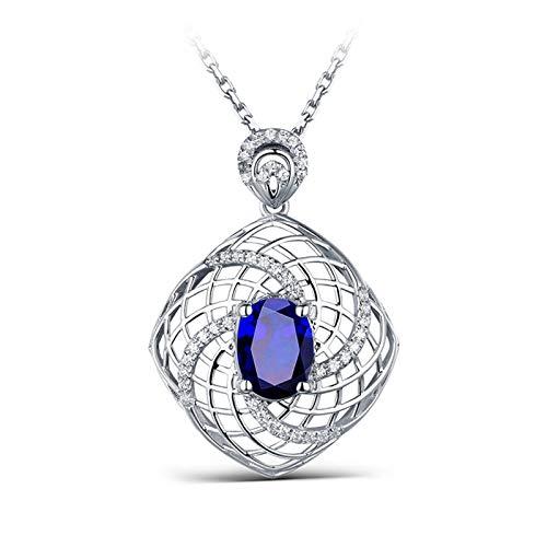 Daesar Collana Donna Oro Bianco 18K 2ct Zaffiro Blu Maglia del Mulino A Vento Diamante Ovale Collana Ciondolocollana Donna Argento
