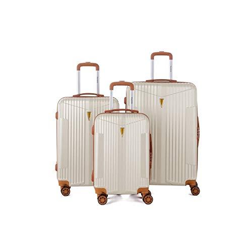 Murino IOA - Juego de 3 maletas, 2 tamaños y 1 tamaño cabina, color marfil